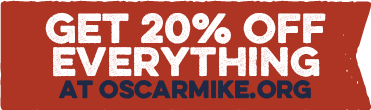 Get 20% off everything at OscarMike.org